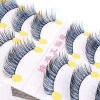 Wholesale Eyelashes Bulk - Wholesale-2015 Newest Women Makeup Bulk 10 Pairs Lots Long False Eyelashes Natural Fake Thick Black Blue Eye Lashes
