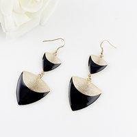 Wholesale Long Earrings Shape - Wholesale Jewelry Bijoux Elegent Gold Color Alloy Colorful Enamel Triangle Shape Long Drop Earrings for Women