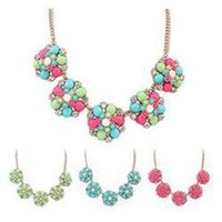 Wholesale Bib Necklaces Prices - Holiday Sale Sweet Womens Flowers Crystal Metal Resin Bib Choker Statement Necklace Pendant With Low Price