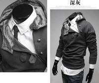 ingrosso maglioni di pile calde-vendita calda commercio all'ingrosso disegno di cerniera obliqua collo di pelliccia di coniglio uomini in maglione di pile interno Slim 2015 nuovo maglione con cappuccio