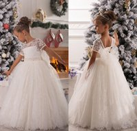 Wholesale Short Fluffy Lace Dresses - White Christmas Flower Girl Dresses Short Sleeve Lace Ball Gowns for Wedding Ruched Lovely Bow Sash Fluffy Custom Made girl Pageant Dress
