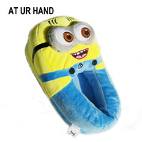 Wholesale minion plush stuffed for sale - AT UR HAND Minions Indoor Slippers Plush Stuffed Funny Slippers Flock Cosplay House Shoes Adult Winter Home Slipper