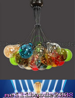 TOP07 Combinaisons Américain Coloré Rétro Verre Bubble Chandelier Restaurant Suspension Lampe Creative Salon Lustres Lumières Éclairage