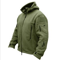 Wholesale polar jacket outdoor - Man Fleece Tactical Jacket Polartec Thermal Breathable Hiking Polar Hooded Coat Outerwear Army Clothes Softshell Outdoor Sports War