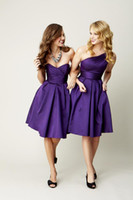 Wholesale Knee Length Corsets - Cheap Simple Purple One Shoulder Sleeveless Short Bridesmaid Dress Satin Corset Knee Length A-line Zipper Elegant Wedding Party Dresses Gown