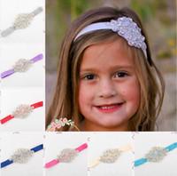 decoração de cabelo flor venda por atacado-Crianças Meninas de Luxo Brilho de diamantes Headbands Flower girl Bandas de Cabelo de Casamento Crianças Acessórios Para o Cabelo de Natal boutique de Decoração Do Partido presente