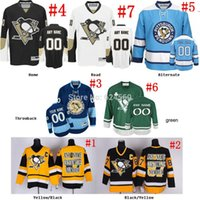 Wholesale Throwback Jersey Cheap China - 2016 New, Custom Throwback Pittsburgh Penguins Jerseys Authentic black blue white personalized Cheap China Hockey Jerseys NO. & Name s