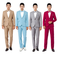 Wholesale Theatrical Dresses - Wholesale-New 2016 Long-Sleeved Men's Suits Dress Hosted Theatrical Tuxedos For Men Wedding Prom Performance cloth suit jacket and pants