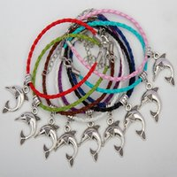 Wholesale Braid Pendant Bracelets Fashion - 2017 Hot 50pcs Vintage Silver Lovely Dolphin Charms Pendants Mixed Color Braided Rope Bracelet Fashion Jewelry DIY For Women&Men S952