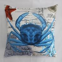 impressão de coral vermelho venda por atacado-VEZO CASA impresso azul caranguejo almofadas do sofá coral vermelho starfish almofadas cadeira assento de casa decorativa fronha 20x20 polegada