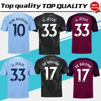 Wholesale Man City Away - City home blue Soccer Jersey 17 18 #10 KUN AGUERO away purple Soccer Shirt 2018 Customized # 17 DE BRUYNE 33 G.JESUS third football uniform