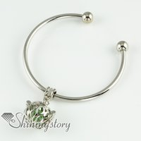 Wholesale Tungsten Lockets - openwork aromatherapy lockets essential oil jewelry lava stone beads charm bracelets