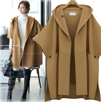 Wholesale plus size black poncho - Plus Size New Autumn Winter Women's Wool Blends Overcoat Cloak Poncho Coat Hooded Loose Tops Outwear Cape Coats 3 Colors C3230