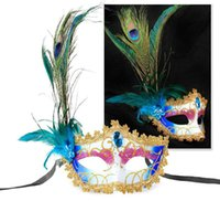 Wholesale Peacock Christmas Decor - Elegant venice peacock feather decor mask party halloween masquerade ball half face sexy Lace Mask 6 kinds of colors to choose from