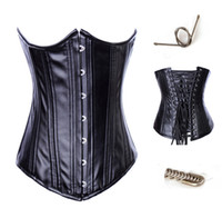 Wholesale Strong Leather Collars - MILLYN New Black Leather Steel bone corset bustier vampire sexy corset top with collar strong waist training