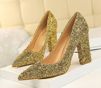 Wholesale Silver Glitter Chunky High Heels - Gold thick high heel pointed toe pumps glitter sequined wedding shoes silver prom gown dress shoes size 34 to 39