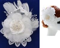 ingrosso clip di capelli del fiore bianco della piuma-Big White Lace Flower Accessori per capelli da sposa Crystal Feathers Luxury Hair Clip Ornamenti per capelli da sposa di alta qualità 2016 Fashion Bride