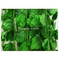 Wholesale big vine - 12 X Big Decorative Fake Grape Leaves Artificial Foliage Vine Garland Decor Green