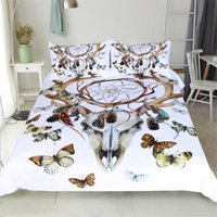 High Quality Watercolor Bedding Set Dreamcatcher Plumas Duvet Cover Set Bohemian Impresso 3Pcs Sheep Head Printed Queen King Size