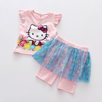 Wholesale Cat Baby Clothing - Girls Clothing Summer Clothes Suit Lovely Cat T-shirt+Tutu Skirt Pant 2 Pieces 100% Cotton Baby Clothing Red White 2 Colors