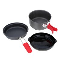 Wholesale Outdoor Camping Cook Sets - ALOCS 2-3 People Anodised Aluminum Outdoor Cookware Lightweight Cooking Pot Pan Set for Outdoor Camp Hike Picnic Sightseeing