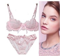 Wholesale D Bra Panty Set - Sexy Lace Embroidery Ultra Thin See Through Bra Sets with Panty A B C D Cup Up Bra Plus Size Lingerie Free Shipping