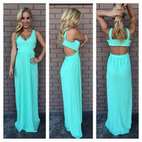 Wholesale Petite Casual Dresses Images - Vestido Casual Sexy Club Dress 2015 Women Cute Turquoise Long Dress Maxi Blue Backless Pretty Cut Out Prom Chiffon Dresses