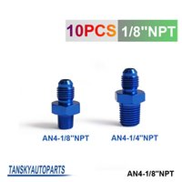 Wholesale Oil Cooler Npt - Tansky - 10pcs unit Oil cooler fitting blue For Universal With No Logo have in stock AN4-1 8''NPT