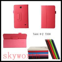 samsung i̇çin tab4 tablosu toptan satış-Folio Standı PU Deri Flip Case Kapak Samsung Galaxy Tab 4 için Tab4 7.0 T230 8.4 T330 10.1 T530