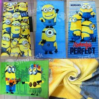 Wholesale Child Bath Robe Terry Wholesale - Despicable Me Minions Towels Bables' Baths Children Beach Kids Cotton Terry Towel For Swimming Shower Gym Free DHL Factory Direct