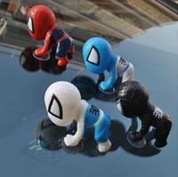 plastik bebek erkekler toptan satış-16 CM Örümcek ManToy Tırmanma Örümcek Adam Pencere Enayi Örümcek-Adam Bebek Araba Ev Iç Dekorasyon 4 renk Oto Şekillendirici Aksesuarları