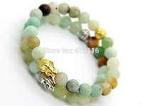 Wholesale Natural Amazonite - 2015 New Design Summer Bracelets Wholesale Natural Amazonite Stone Beads God and Silver Buddha Energy Bracelets Party Gift