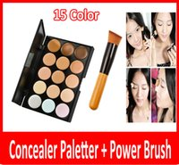 Wholesale Dark Grey Brushed - 2015 professional New 15 Colors Concealer Palette Contour Face Cream Makeup Camouflage Concealer Palette Powder Brush