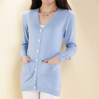 Wholesale Computer Sale Lowest Price - Wholesale- LOWEST PRICE Hot Sales Fashion Women Front Pocket Design Cardigan Casual Open-Stitch Cashmere Sweater High Quality Free Shipping