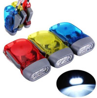 Wholesale gear driven - Hand Pressing 3 LED Crank Power Dynamo Wind Up Flashlight Torch Night Lamp Light Camping Outdoor Sports Tool Outdoor Gear CCA8352 100pcs