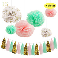 Nicro9 Pcs / Lot Mint Papel verde Papel de flores Fresco de ouro rosa Dot Tassel Garland DIY Gênero Reveal Party Material decorativo.