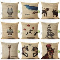 Wholesale vintage white pillowcases resale online - 45cm Fanshion Cotton Linen Fabric Throw Pillowcase Vintage Animals Hot Sale Inch New Home Coffee House Sofa Back Decor Cushion Cover