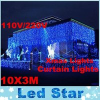 Wholesale Christmas Decor Outdoor Led Cool - 2016 Brand New 110V 10M* 3M New Year Christmas Garland LED String Christmas Light Icicle Fairy Light Outdoor For Party Wedding Curtain Decor