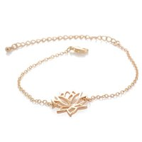 Wholesale Lotus Classic - Classic Lotus Shape Bracelets for Women Elegant fashion Flower Bracelets Bangles Plant Chain Link Charm Bracelet pulseras Jewelry Gifts new