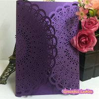 Wholesale Back Light Sheet - Purper Laser Cut Wedding Invitations Hollow Out Ivory Paper Inner Sheet White Envelope Wedding Supplies Bridal Party Invitation Cards