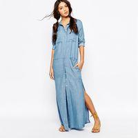 Wholesale Dresses Women Jean - 2016 summer style 6 Pockets Denim Shirt Dresses Women Long Sleeve Side slits Washing Jean Maxi Dress Vestidos Robe Femme