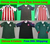Wholesale Chivas Soccer - S-XXL 2017 2018 MX Chivas de Guadalajara PINK Soccer Jerseys 17 18 Club Deportivo third Away green BLack Football Shirt Free DHL Ship