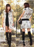Wholesale Womens Winter Sleeveless Vests - Womens Body Slim Faux Raccoon Fur long Vest Jacket with Belt Winter Sleeveless Hooded Fur Outwear Waistcoat Coat Free Shipping WT155