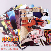 Wholesale Wall Stickers Naruto - Wholesale-Free shipping Anime Naruto Posters High Quality Thick Embossing Posters Wall Sticker 8pcs lot 42X29CM