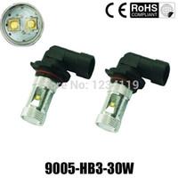 Wholesale H7 Blue Fog Light Bulbs - 30W 9005 HB3 H4,H7,H8,H11,H16, 9006 HB4,1156 P13W CREE Fog Light Driving Headlight DRL Bulb white blue green yellow red