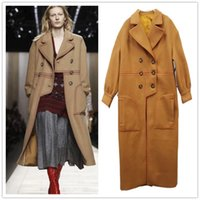 Wholesale Coat Buttons Sewing - New autumn and winter in Europe and America women's solid color long wool trench coat belt wool jacket Loose irregular double-breasted coat