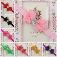 Wholesale Headband Diamond Center - Baby Headband Baby girl's Chiffon Rose Bow shiny diamond Center 20pcs lot Headbands