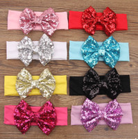 Wholesale Yellow Sequin Headbands - New girls bows sequins Hairband kids Hair Band European and American style big bows headwear Children Elastic headband E0669