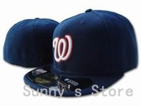 Wholesale Team Hat Brands - Wholesale-Top Quality Washington Nationals Baseball Fitted Hats Classic Navy Blue Color With White W Brand Sports Team Flat Caps