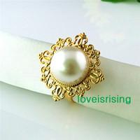 Wholesale Ivory Napkin Rings - Lowest Price--50pcs Ivory Pearl Gold Plated Vintage Style Napkin Rings Wedding Bridal Shower Napkin holder-- Free Shipping
